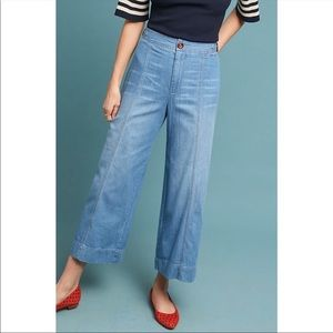 unworn wide legged cropped jeans Anthropologie